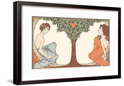 Adam and Eve, Art-Nouveau Style-drakonova-Framed Art Print
