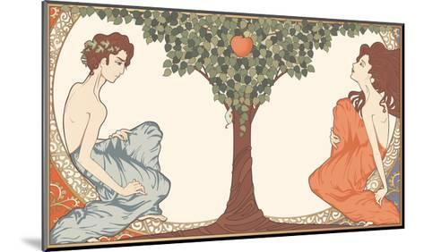 Adam and Eve, Art-Nouveau Style-drakonova-Mounted Art Print