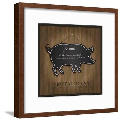 Blackboard Pig Restaurant Menu Card-Mondih-Framed Art Print