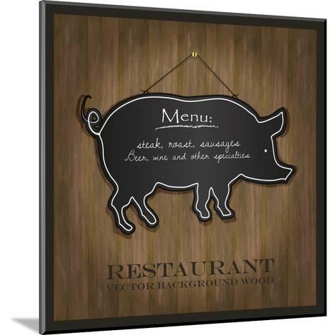 Blackboard Pig Restaurant Menu Card-Mondih-Mounted Art Print