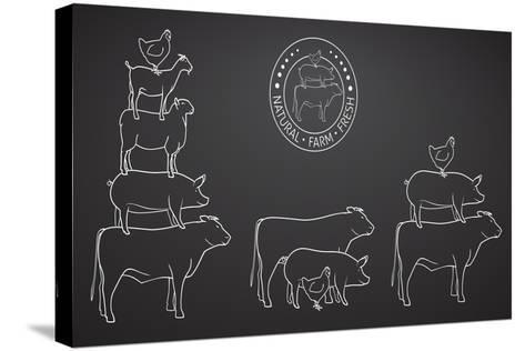 Animals Pyramide, Natural, Farm, Fresh-ONiONAstudio-Stretched Canvas Print