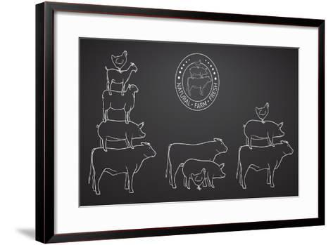 Animals Pyramide, Natural, Farm, Fresh-ONiONAstudio-Framed Art Print