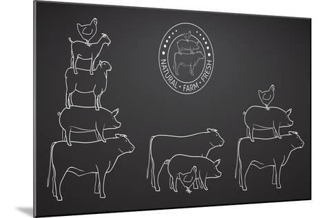 Animals Pyramide, Natural, Farm, Fresh-ONiONAstudio-Mounted Art Print