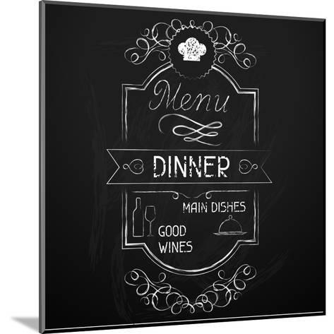 Dinner on the Restaurant Menu Chalkboard-incomible-Mounted Art Print