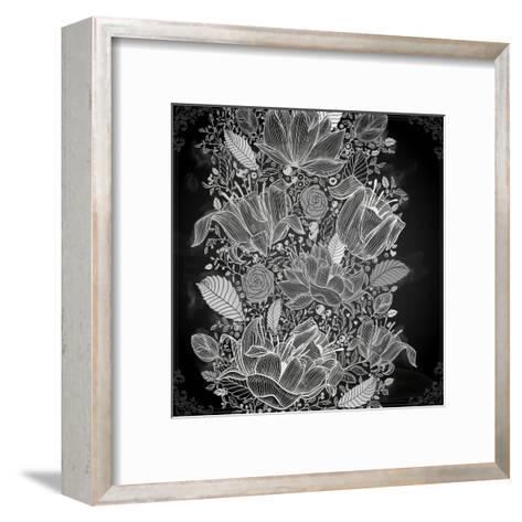 Stylish Floral Background, Hand Drawn Retro Flowers-Ozerina Anna-Framed Art Print