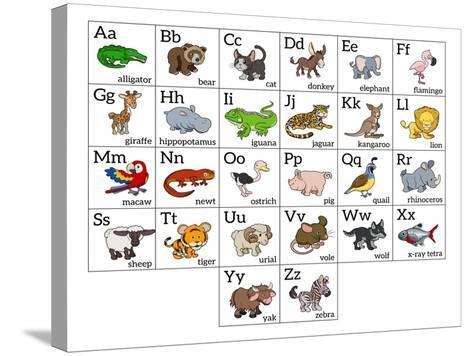 Cartoon Animal Alphabet Chart-Krisdog-Stretched Canvas Print