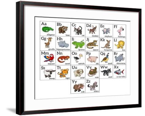 Cartoon Animal Alphabet Chart-Krisdog-Framed Art Print