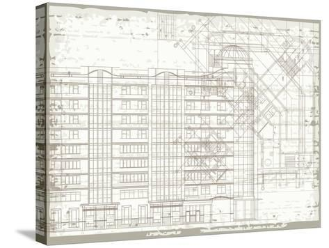 Grunge Horizontal Architectural Background with Elements of Plan and Facade Drawings-tairen-Stretched Canvas Print