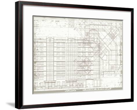 Grunge Horizontal Architectural Background with Elements of Plan and Facade Drawings-tairen-Framed Art Print