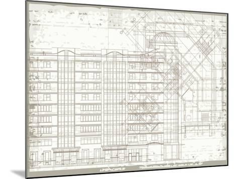 Grunge Horizontal Architectural Background with Elements of Plan and Facade Drawings-tairen-Mounted Art Print