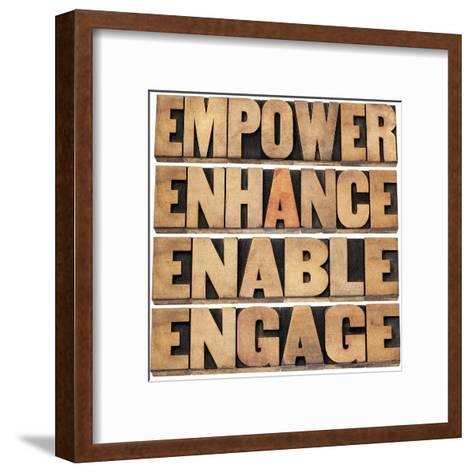 Empower, Enhance, Enable and Engage-PixelsAway-Framed Art Print
