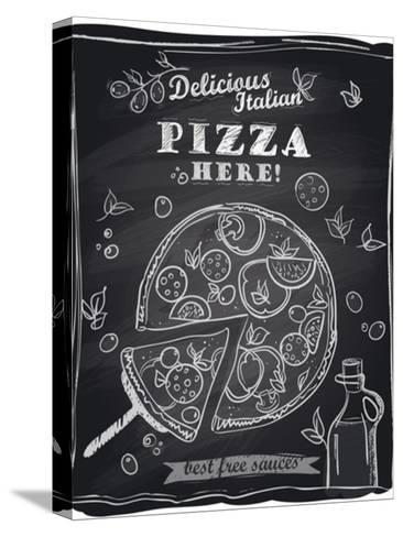 Chalk Pizza with the Cut Off Slice-Selenka-Stretched Canvas Print