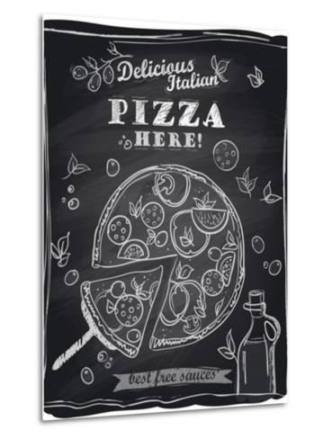 Chalk Pizza with the Cut Off Slice-Selenka-Metal Print