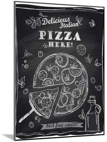 Chalk Pizza with the Cut Off Slice-Selenka-Mounted Art Print