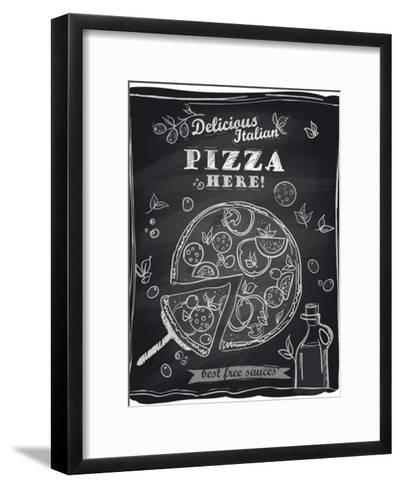Chalk Pizza with the Cut Off Slice-Selenka-Framed Art Print
