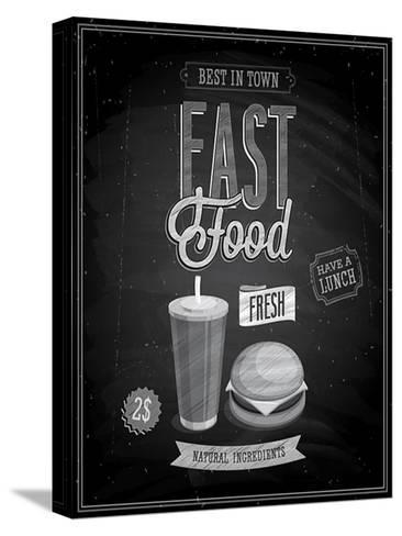Vintage Fast Food Poster Chalkboard-avean-Stretched Canvas Print