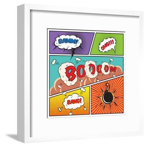 Comic Speech Bubbles-Macrovector-Framed Art Print