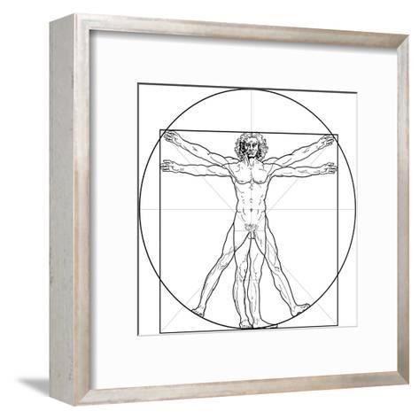 The Vitruvian Man, or Leonardo's Man-Green Ocean-Framed Art Print