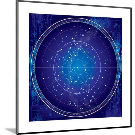 Celestial Map of the Night Sky-Green Ocean-Mounted Art Print
