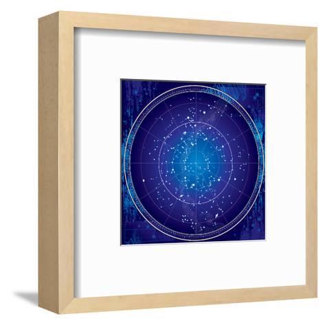 Celestial Map of the Night Sky-Green Ocean-Framed Art Print