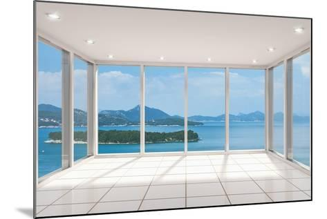 Empty Modern Lounge Area with Large Bay Window and View of Sea-FreshPaint-Mounted Art Print