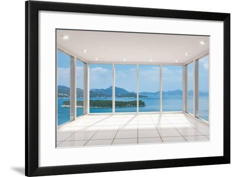 Empty Modern Lounge Area with Large Bay Window and View of Sea-FreshPaint-Framed Art Print