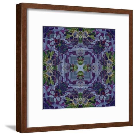 Art Nouveau Geometric Ornamental Vintage Pattern in Violet and Green Colors-Irina QQQ-Framed Art Print