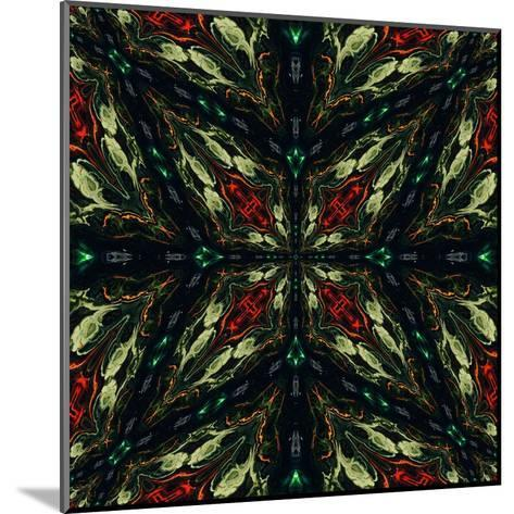 Art Nouveau Ornamental Vintage Pattern in Green and Red Colors-Irina QQQ-Mounted Art Print