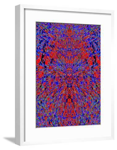 A Red and Blue Kaleidoscopic Tapestry-Ray2012-Framed Art Print