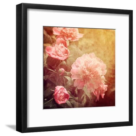 Art Floral Vintage Background with Pink Peonies-Irina QQQ-Framed Art Print