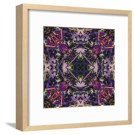 Art Nouveau Geometric Ornamental Vintage Pattern in Lilac, Violet and Blue Colors-Irina QQQ-Framed Art Print