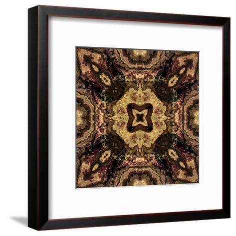 Art Nouveau Geometric Ornamental Vintage Pattern in Beige and Brown Colors-Irina QQQ-Framed Art Print