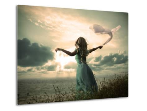 Woman in Turquoise Dress with Fabric at Sea-brickrena-Metal Print