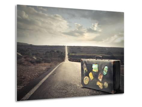 Vintage Suitcase on a Deserted Road-olly2-Metal Print