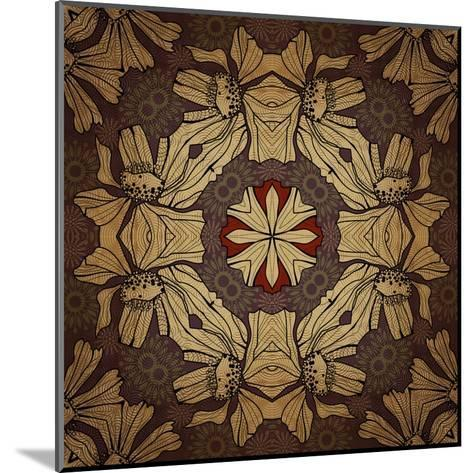 Art Nouveau Geometric Ornamental Vintage Pattern in Beige, Violet and Brown Colors-Irina QQQ-Mounted Art Print