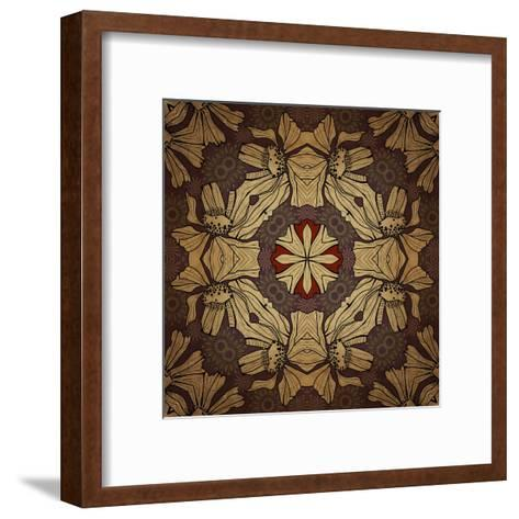 Art Nouveau Geometric Ornamental Vintage Pattern in Beige, Violet and Brown Colors-Irina QQQ-Framed Art Print