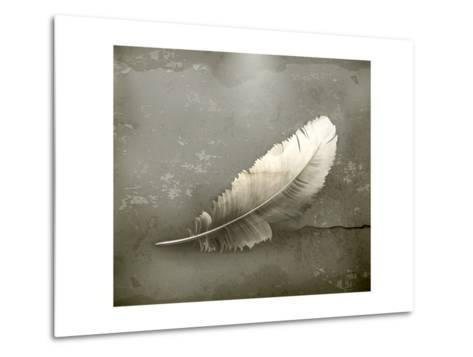Feather, Old-Style-Nataliia Natykach-Metal Print