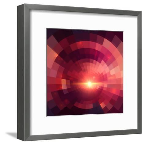 Abstract Red Shining Circle Tunnel Background-art_of_sun-Framed Art Print