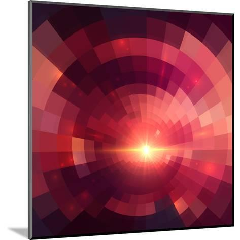 Abstract Red Shining Circle Tunnel Background-art_of_sun-Mounted Art Print