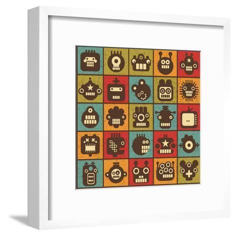 Robot and Monsters Cell Background-panova-Framed Art Print