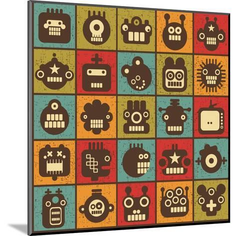 Robot and Monsters Cell Background-panova-Mounted Art Print