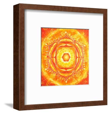 Abstract Orange Painted Picture with Circle Pattern, Mandala of Svadhisthana Chakra-shooarts-Framed Art Print