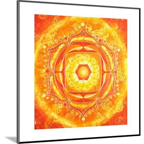 Abstract Orange Painted Picture with Circle Pattern, Mandala of Svadhisthana Chakra-shooarts-Mounted Art Print