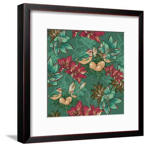 Floral Background with Bird-Varvara Kurakina-Framed Art Print