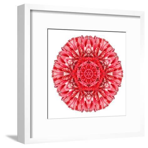 Red Daisy Mandala Flower Kaleidoscopic-tr3gi-Framed Art Print
