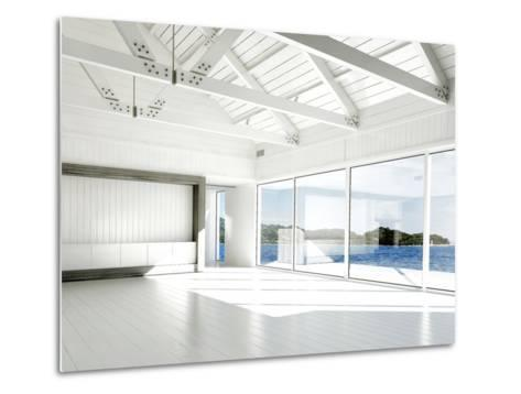 Empty White Room with Large Windows and Scenic View-PlusONE-Metal Print