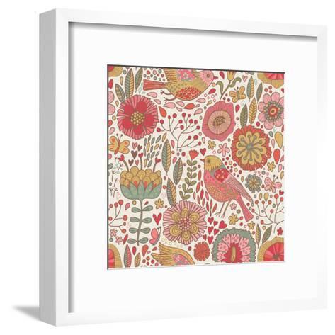 Vintage Floral Romantic Pattern-smilewithjul-Framed Art Print