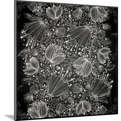Stylish Floral Background, Hand Drawn Retro Flowers-Ozerina Anna-Mounted Art Print