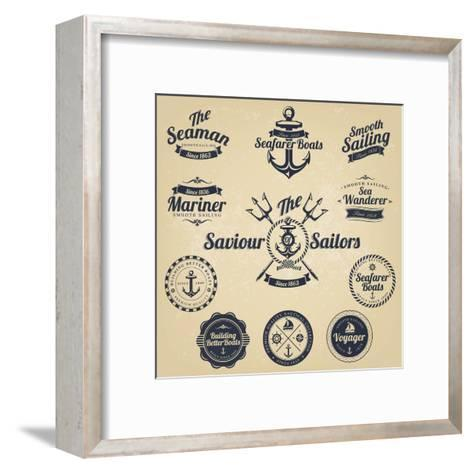 Set Of Vintage Retro Nautical Badges And Labels Art Print By Oros