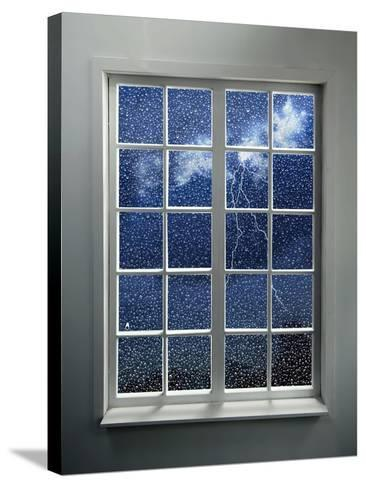 Modern Residential Window with Lightning and Rain Behind-ilker canikligil-Stretched Canvas Print